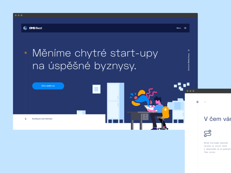 OMG Nest — Media Accelerator illustration landing page layout website colorful identity typography flat clean design