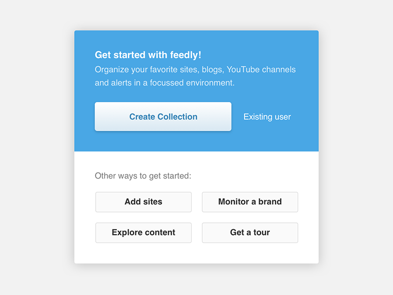Feedly Onboarding Popup buttons instructions modal popup onboarding