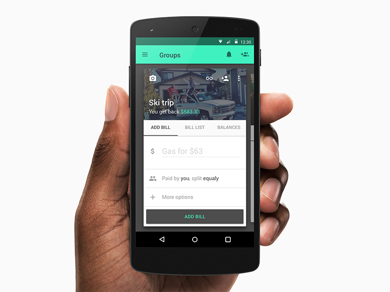 Splitwise redesign (1/2) material design card form payment splitwise