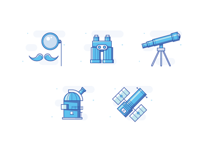 Observation Icons observatory monocular binocular telescope hubble icon set blue icons observation icons