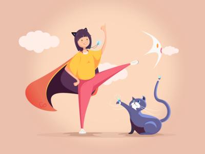 Illustrator- sister CR_2 love cute illustrator cat sister