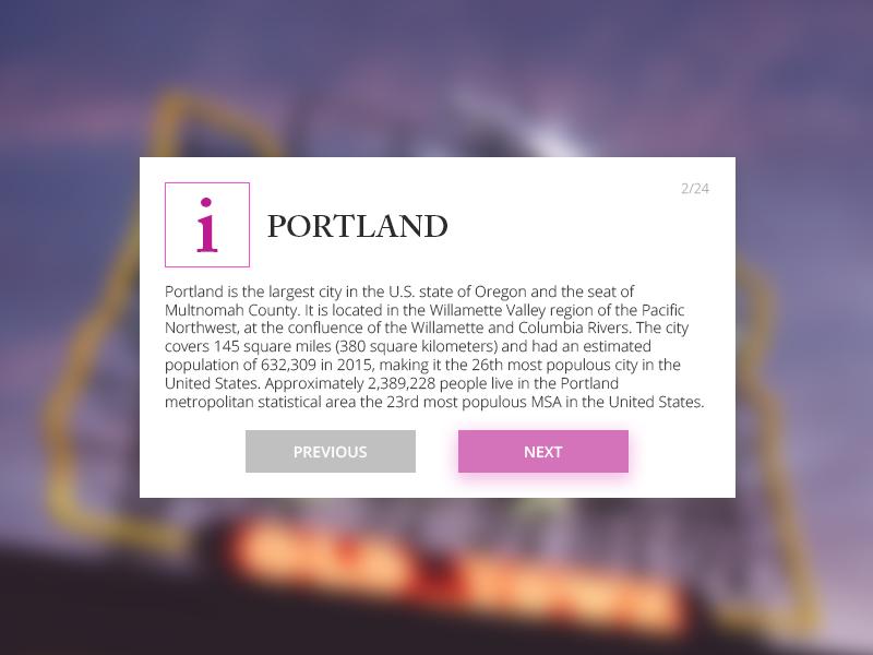UI 018 Information Card mobile web element ux ui purple card portland information dailyui