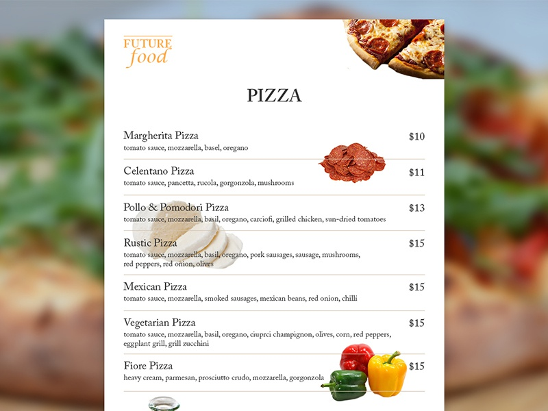 UI 019 Food Menu crust mozzarella oliveoil pepperoni menu pizza food dailyui
