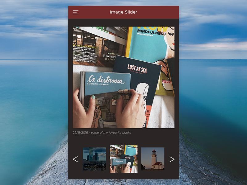 UI 022 Image Slider red description day22 ui slider images mobile dailyui