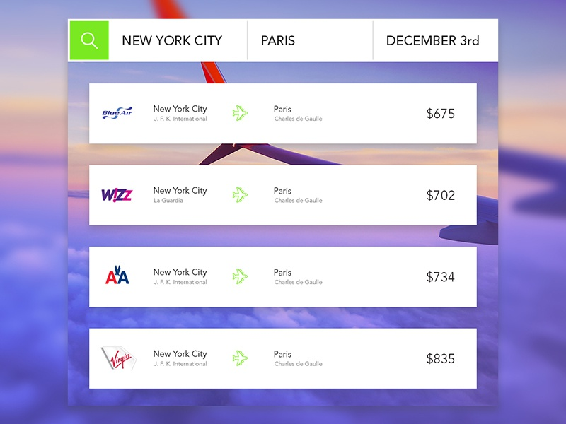 UI 023 Flight Search paris nyc plane airline blue element ui info search flight dailyui