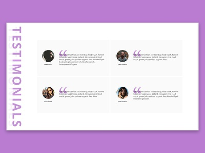 Testiomanials Page #3 ux page website ui web simple slider review rate people testimonials