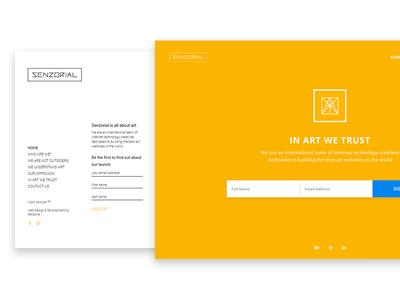Senzorial Redesign logo menu art singlepage landing socialmedia countdown singup layout redesign