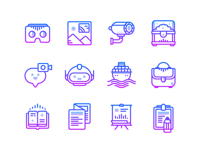 Gradient line icons bag chat image virtual reality book robot gradient vector graphics graphic design vector ux design ui design design outline icon infographics illustration icons design icons pack icons set icons