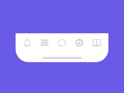 Tab Bar Animation menu bar mobile app notification bell bookmark compass chat ui  ux ui design navigation bar tab bar icon set icons interface interaction animated motion app animation