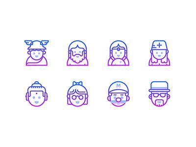 Gradient line icons super mario zeus nerd userpic buddha fortuneteller doctor people avatar avatar icons graphic design vector design outline icon illustration icons design icons pack icons