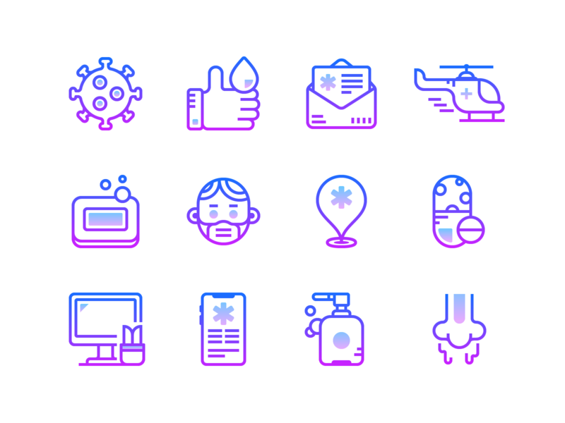 Healthcare icons: Gradient line medical ui design design gradient icon infographics icons set icons pack helicopter location map marker sanitizer washing virus pills soap hospital healthcare health coronavirus covid19