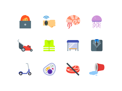 Color icons formal outfit sea heand wearable technology no meat cells scooter bus stop lawn mower nautilus jellyfish illustraion icons pack icons set icons