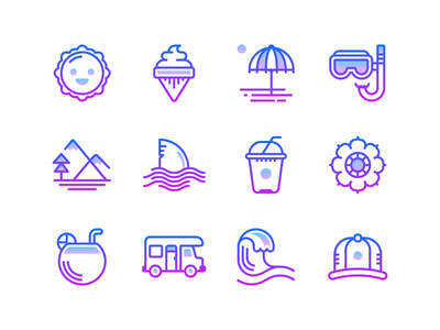 Gradient line: Summer web design iconography design ui design illustraion infographic sea outline icons icons set summertime icons tropical flower beach mountain ice cream sun holidays travel summer