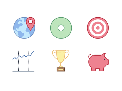 Animated Icons in Office style mograph animation design animation 2d ui pictogram bank piggy bank trophy graph stocks target goal pie chart location finance business motion icons animation animated