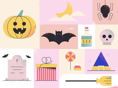 Spooky season autumn magic skulls gift box gift broom lollipop skull spider candy jack o lantern illustraion icons witch pumpkin spooky halloween