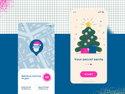 Christmas xmas holidays onboarding graphic design santa winter ui design illustraion mobile design mobile app new year gift christmas tree christmas party party christmas santa clause