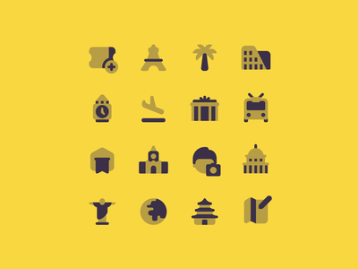 Travel icons graphic design building icons design booking app airport big ben bus landmark vacation ticket map user interface duotone icons set icons travel