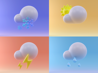 3D Weather Icons glass drop 3d art 3d model ui illustartion icons set cloud winter summer sun snowflake rain modeling weather icons render c4d cinema4d 3d
