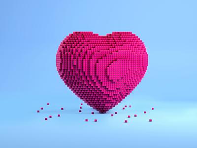 Pixel heart 3d icons design 3d illustration cinema4d wedding valentines day romance love illustration render modeling 3d model c4d icons like pixel heart 3d