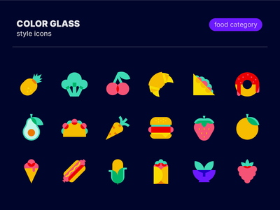 Color glass icons: Food category graphic design icons pack taco fruits vegetables berries ice cream hot dog burger avocado cherry donut pineapple fast food food color glass illustration icons set icons