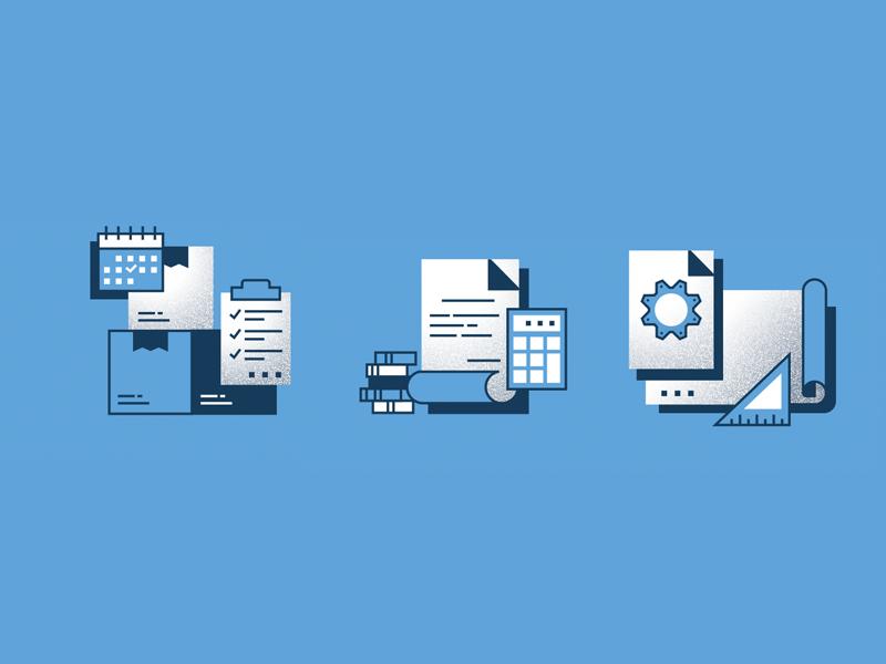 Illustrations set blueprint package flat ui design outline logo line infographics illustration icon set icons