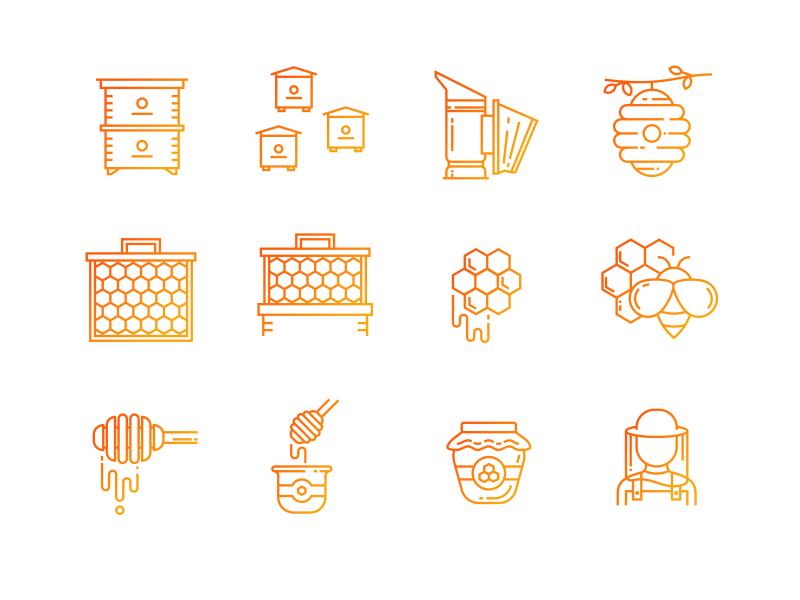 Apiary icon set sweet honey bee apiary autumn outline logo line infographics illustration icon set icons