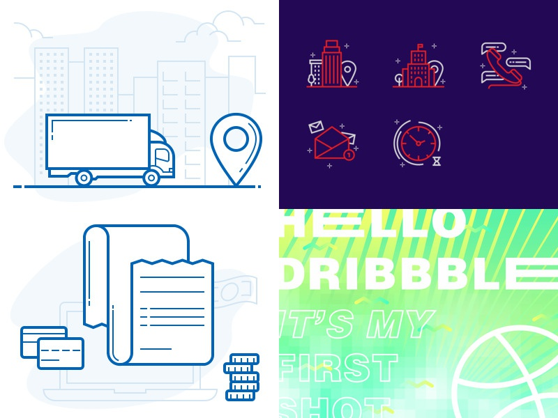 2018 infographics dribbble ui design outline illustration icons