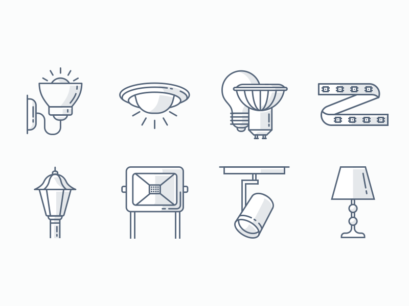 Light Fixtures Icons lightbulb home lights ui design outline logo infographics illustration icon set icons