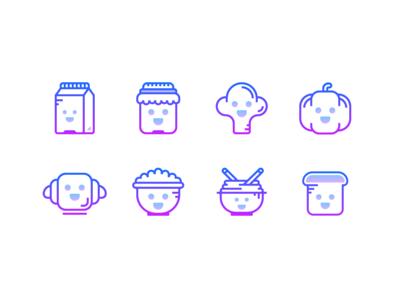 Gradient Icons: Kawaii food
