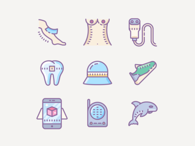Icons set at Cute color and Cute outline style