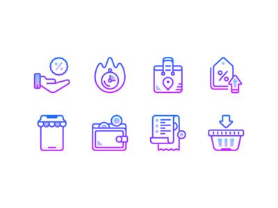 Gradient icons: Black friday