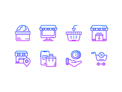 Gradient icons: Shopping and E-commerce