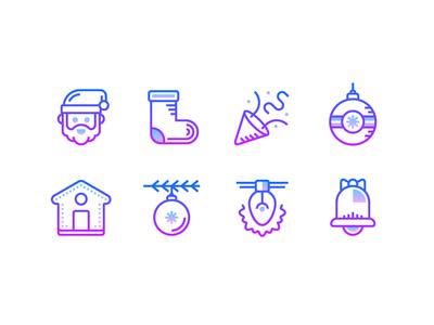 Gradient icons: Christmas