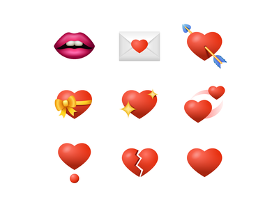 Emoji: Love and Valentine's Day lips kiss cupid love letter romance emoji set emoji valentine day heart wedding love vector graphics graphic design vector ux design ui design design illustration icons set icons