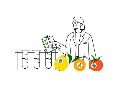 Lab examination sanitary laboratory lab woman fruit vegetable character illustration web design web illustration vector human illustrations character design illustration