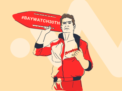 David hasselhoff. Baywatch 89 man portrait 30th illustraion baywatch