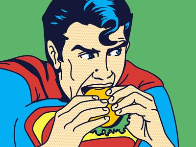 Superman branding man human character design comics popart art illustration burger superman