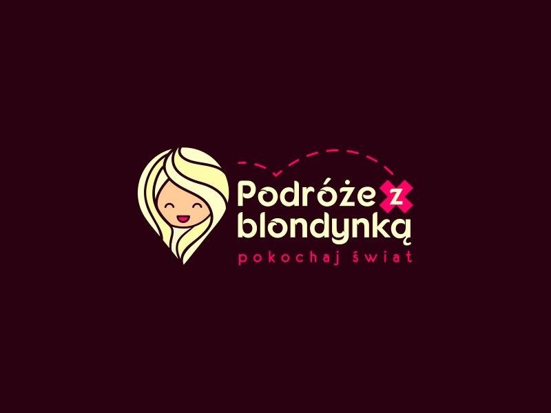 Pin + blonde woman 👩🏼 woman illustration woman logo girl travel logo branding and identity logo designer logo design travel tour-operator tourist poland place logo branding blonde-girl blonde