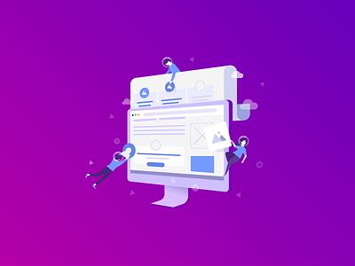 Web design and development process. Branded illustration. design chatacters web website imac site computer graphics character design illustration web design