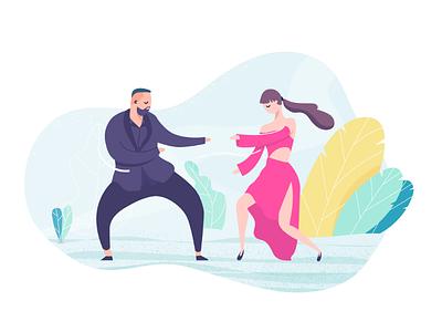 Dances of Monatik and Dorofeeva doodle character illustration boy girl womans woman people graphic design illustrations music characters design character design dance flat style flat illustrator illustration
