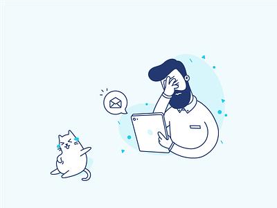 haha haha working ipad man illustrator graphic designer illustrations more facepalm cat charachters character design design illustration