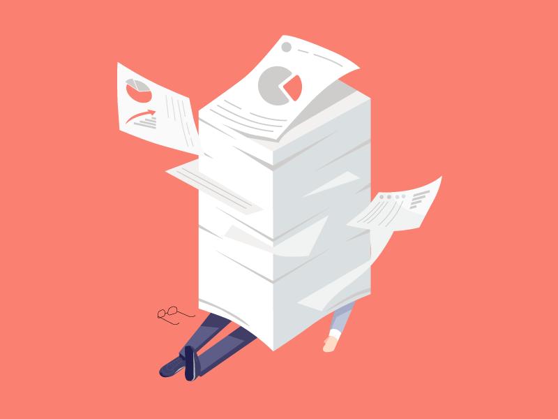 Fail at work character concept fail designer characters man paper work design illustrator character design illustration