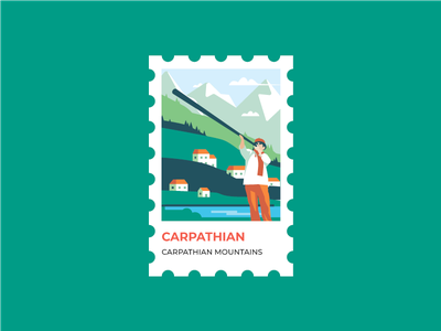 Stamp Ukrainian Carpathian bukovel lviv vector flat illustrations trembita nature landscape illustration stamp carpathian mountains ukraine mountains mountain carpathian