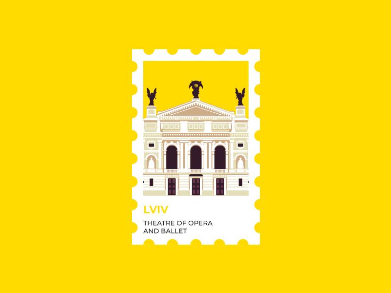 Lviv Stamp. Theater of Opera and Ballet. ukrainian designer sights of lviv monument building vector landscape illustration illustrations ukrainian attraction sights theater opera ballet lviv stamp ukraine
