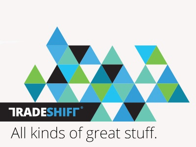 Dribbble Ts Card 02 flat tradeshift triangles cool branding visual identity logo brand geometric swiss modern tagline triangle