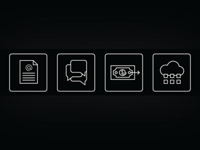 Icon set for Financial Software website financial invoicing workflow solution platform icon flat stroked line black white money