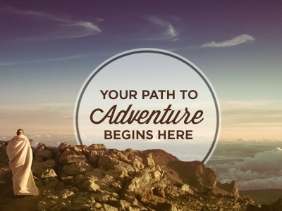 Your path to Adventure! adventure path mountain clouds badge adventurer hiking sky landscape wisdom script