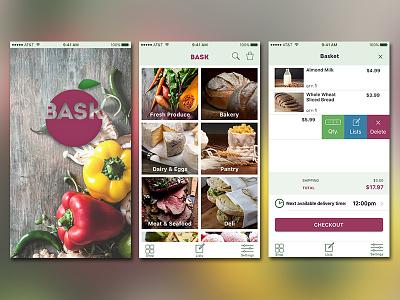 BASK app screens bask basket cart delete shopping grocery ecommerce app ios mobile