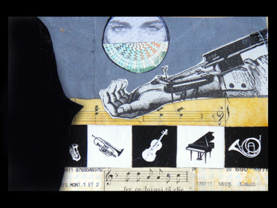 Postcard: Venice postcard collage mail art found assemblage montage mail post vintage music venice hand