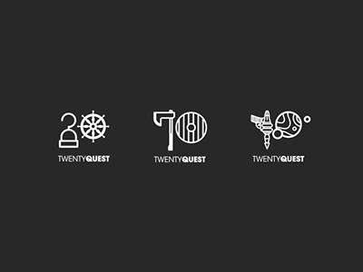 TwentyQuest fantasy game board rpg twenty vector illustration black graphic design brand logo